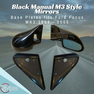 Black Manual M3 Style Mirrors & Base Plates To Fit Ford Focus MK1 1998 - 2005