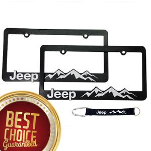 (2) Jeep-License-Plate-Frame-Wrangler-Rubicon-Cherokee-Renegade-Wrist Lanyard