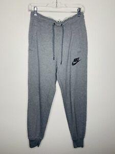 Nike Womens Jogger Pants Womens Size Small Light Gray Spellout Logo Fleece Lined