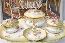 Antique J. C. Limoge France Dressing Table Vanity Set Pink Floral Design 1890s
