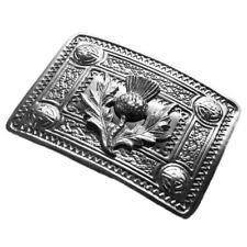 Kilt-Gürtelschnalle - Keltisches Distel-Design - Chrom
