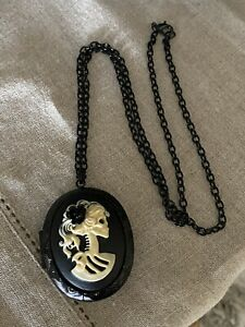 Halloween Dia De Los Muertos Day Of The Dead Lady Skull Charm Pendant Necklace
