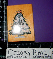 SNOWY PINE TREE CARDINAL BIRD CHRISTMAS RUBBER STAMP COMOTION 1860