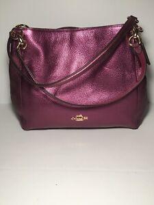 NWT Coach F80271 Metallic Berry Hallie Shoulder Bag