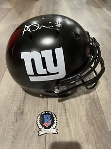 AZEEZ OJULARI New York Giants SIGNED Full Size Schutt authentic Draft Beckett