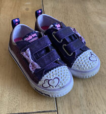 SKECHERS Girls Purple Twinkle Toes Trainers Lights Shoes UK Infant Size 8