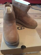 UGG CLASSIC MINI WATERPROOF CHESTNUT SUEDE SHEEPSKIN BOOTS SIZE 8 1019643