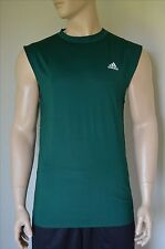 NUOVO Adidas Techfit SL Senza Maniche Livello Base Compression Shirt Green Tank Tee 2XL