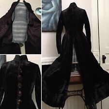 VICTORIAN STEAM PUNK WOMAN' PURPLE VELVET LONG TRENCH COAT JACKET w SATIN