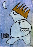 21042374 e9Art ACEO Outsider Folk Art Painting King Abstract Figurative Surreal