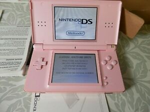 NINTENDO DS LITE Pink with Box, Charger & Manuals Working Order with Game