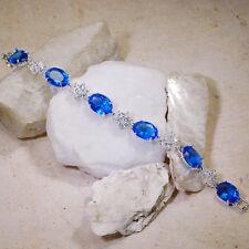 "Wholesales 5 strands x 35Ct Blue Sapphire & White Topaz Silver Bracelet 7""Gbr176"