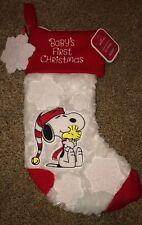 "Hallmark 2019 Peanuts Snoopy Baby's First Christmas Stocking Fuzzy Soft NWT 14"""