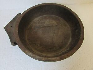 1920's Antique Old Hand Carved Wooden Dough Bowl / Kneading Bowl  Indian Parat