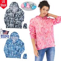 NEW Ladies Hooded Casual Windbreaker Zip Long Sleeves Waterproof Rain Coat S-4XL