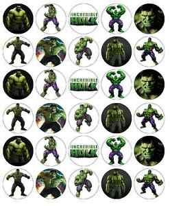 30x The Incredible Hulk Cupcake Toppers Edible Wafer Paper Fairy Cake Toppers