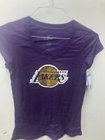 Los Angeles Lakers Women's Vneck Sparkle Shirt Purple New NBA Basketball