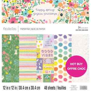"""Cardstock Scrapbook Paper Pad HAPPY SPRING 48 Sheets 12x12"""" Flowers Easter Foil"""