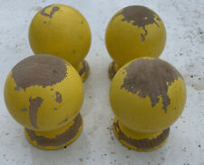 4 Vintage Wooden Finials Post 2.5� Reclaimed Salvage Wood Yellow Curtain Rod End