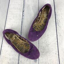 Sam Edelman Womens Felicia Suede Ballet Flats Purple Size 10 M Embroidered