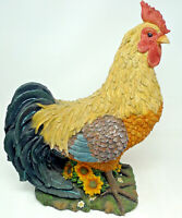"Vintage Resin Rooster Figurine Sunflowers Large Green 17.5"" Farm House Decor"