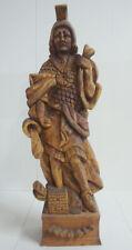 Ländlich handgesch. Holz Figur Schnitzerei Holzfigur Krieger Kämpfer Skulptur