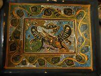 "Mini Black Lacquer Olinala Handpainted Birds Rabbit Trinket Tray Folk Art 5x4"""