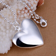 925 Hallmark Sterling Silver Filled Heart Pendant Chain Necklace Woman N489