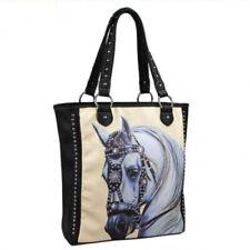 HORSE & WESTERN LADIES MONTANA WEST BAROQUE HORSE HEAD TOTE HANDBAG BLACK  CREAM