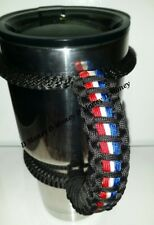 Paracord Handle for 40oz 30oz or 20oz  Ozark, Yeti, RTIC, Black with RWB  Stripe