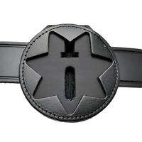 Perfect Fit 7 Point Star Badge Holder Clip On Neck Chain Black Leather Sheriff