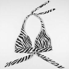 Victoria's Secret Bikini Top - Black White Zebra, Push Up Halter - Size Small