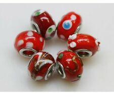 "Set of 6 ""Red"" Murano Beads Charm for Snake Chain Charm Bracelets"
