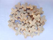 50 Stück Rosenkranz Kreuze Kreuz hell Holzkreuz 2,5 x 2,5 cm Basteln