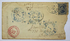 1887 Hawaii 39 on Cover Unusual Clock Time Cancel Muser Bros San Francisco Hilo