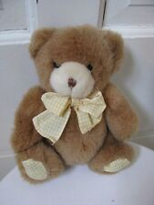 RARE Carter's Plush Teddy Bear With Gingham Checked Bow He Rattlles Lovey MINT