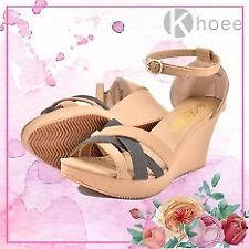 Khoee Kaith Fashionable Ankle Strap Wedge Sandals (Apricot)