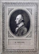 Eau-forte, Portrait de Christophe Martin Wieland, Ecole allemande,XVIIIe