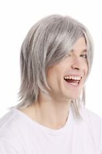 Male Wig Long Smooth Parting Cool Mature Rockstar Light Grey Grey GFW892-51