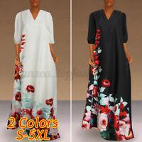 Womens Short Sleeve Floral Swing Dress Summer Holiday Beach Maxi Dress Plus Size