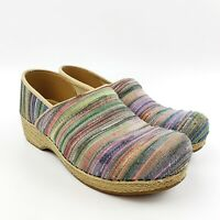 DANSKO Womens Jute Pro Vegan Woven Striped Fabric Closed Clogs Professional - 41