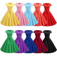 Women's 50s Vintage Rockabilly Style Pinup Swing Evening Party Dress 10Colours