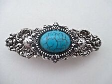 TURQUOISE CABOCHON & SILVER OX ORNATE VICTORIAN STYLE BARRETTE ~ A BEAUTY!