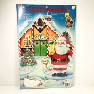 Vtg 1987 Eureka Santa's Workshop 25in 3D Christmas Decoration Paper Honeycomb