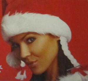 Weihnachtsmütze mit Zöpfen Damen one size Kopfbedeckung Weihnachten rot/weiß