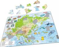 Mappa Asia Con Animali - Telaio/Tavola Puzzle 29cm x 37cm ( Lrs A30-GB)