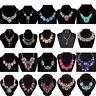 Fashion Women Crystal Statement Bib Pendant Chunky Choker Necklace Chain Jewelry
