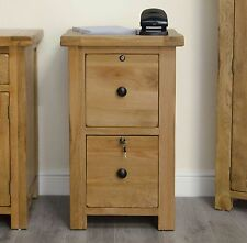 Original rustic solid oak office furniture two drawer filing cabinet with locks
