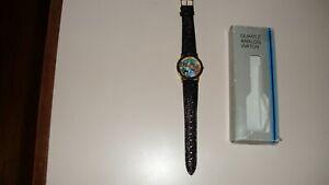 Wizard of Oz Wristwatch, Black Leather Band, 35mm Diameter, NIB