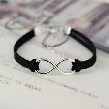 Silver Plated Infinity Black Velvet Leather Rope Bracelet Birthday Gift